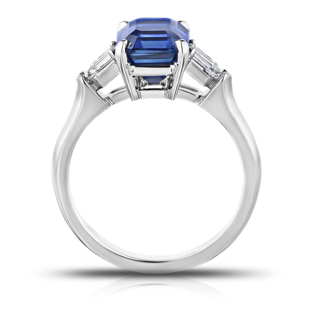 3.72 Carat Emerald Cut Blue Sapphire and Diamond Ring - David Gross Group