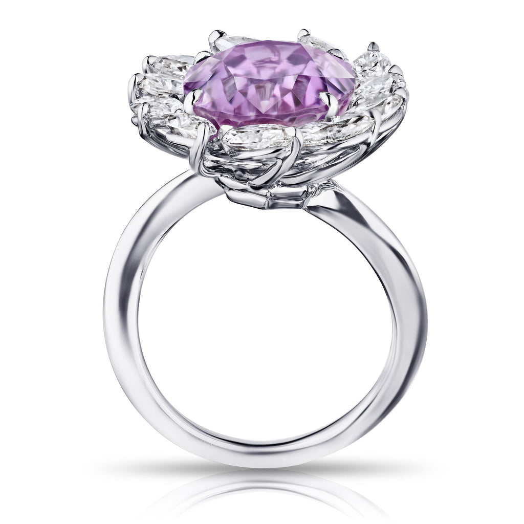 13.46 Carat Oval Pink Sapphire and Diamond Ring - David Gross Group