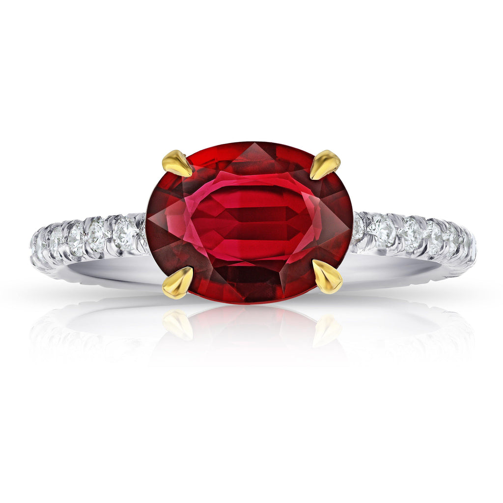 2.14 Carat Oval Red Ruby and Diamond Ring - David Gross Group