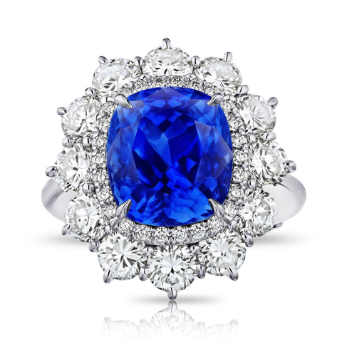6.16 Square Emerald Blue Sapphire and Diamond Ring