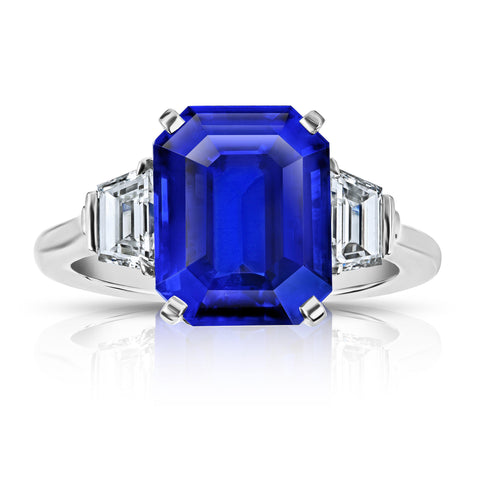4.04 Carat Cushion Blue Sapphire and Diamond Ring
