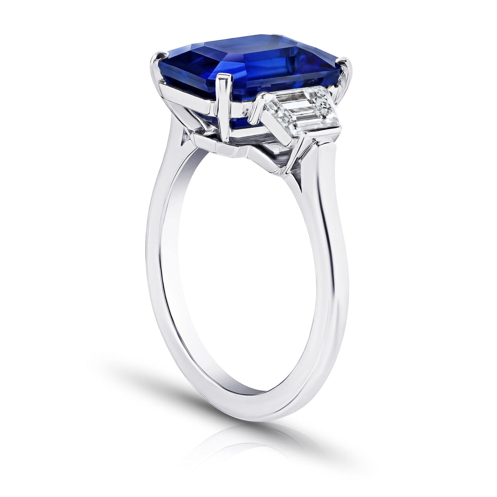 7.11 Carat Emerald Cut Blue Sapphire and Diamond Ring - David Gross Group