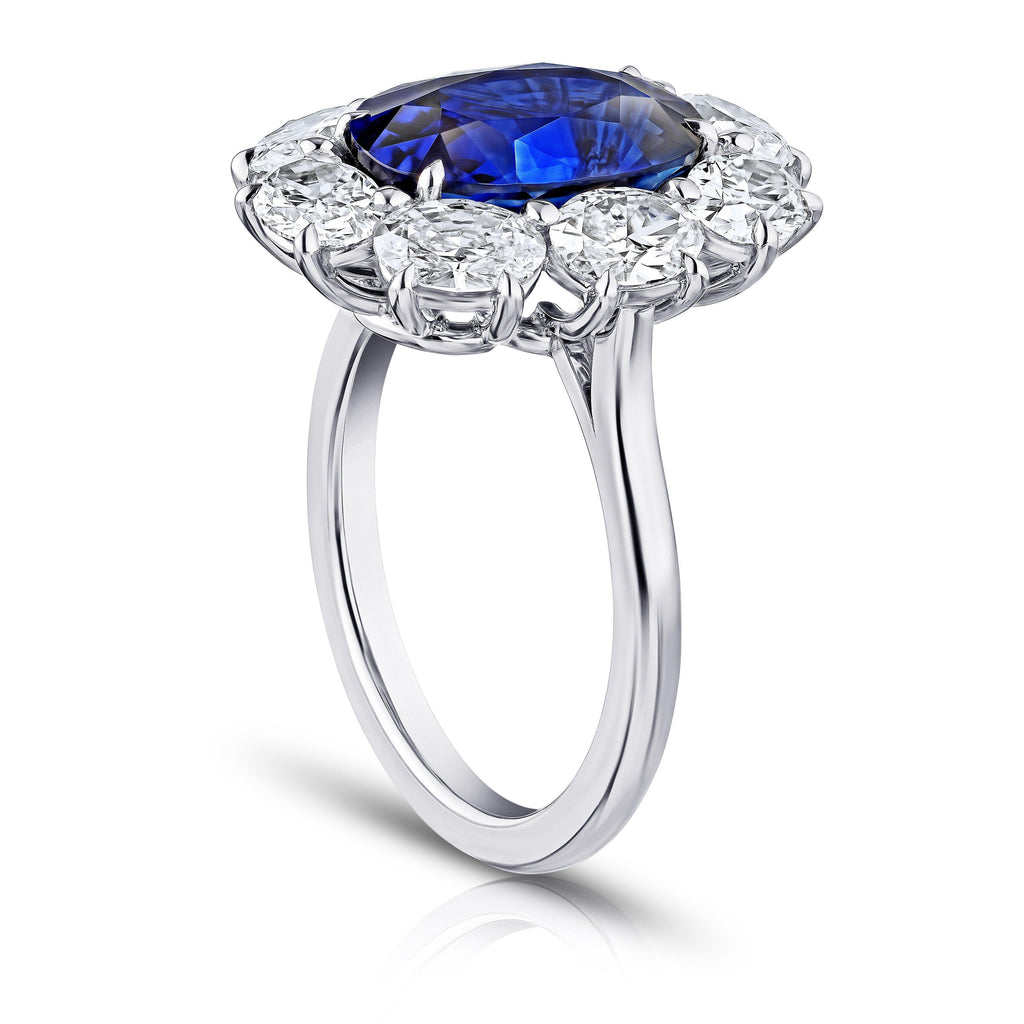 5.30 Carat Oval Blue Sapphire and Diamond Ring - David Gross Group
