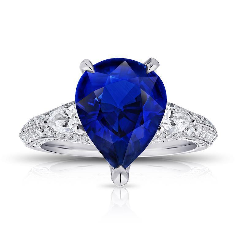 6.18 Carat Pear Shape Blue Sapphire and Diamond Ring - David Gross Group