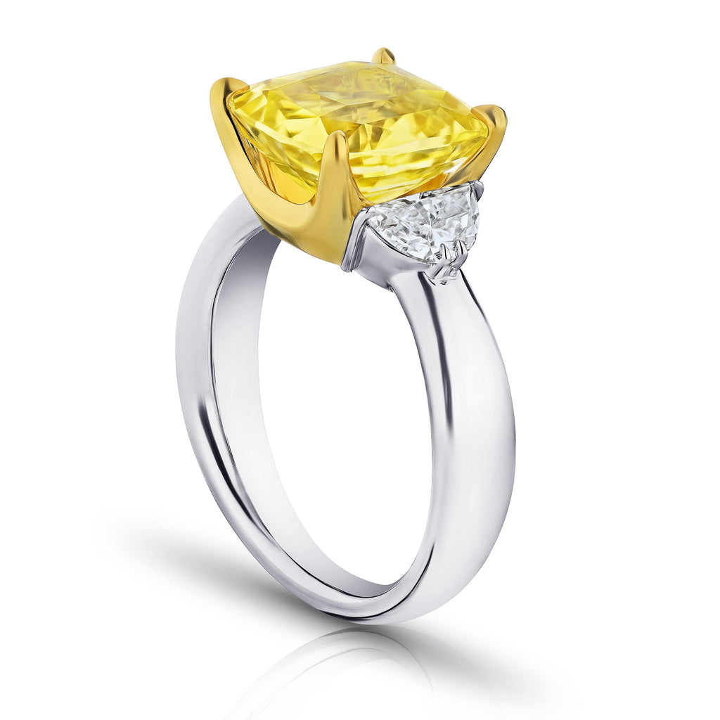 6.51 Carat Cushion Yellow Sapphire and Diamond Ring - David Gross Group