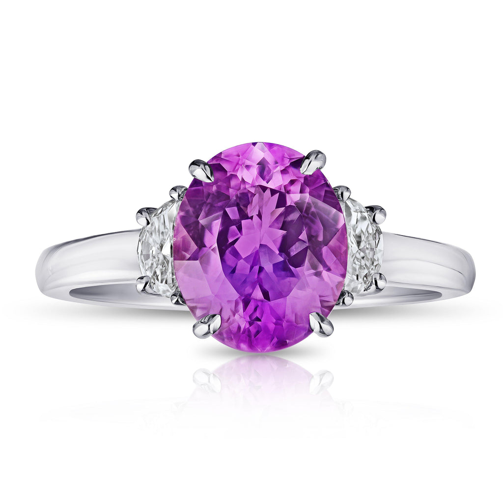 3.21 Carat Oval Pink Sapphire and Diamond Ring - David Gross Group