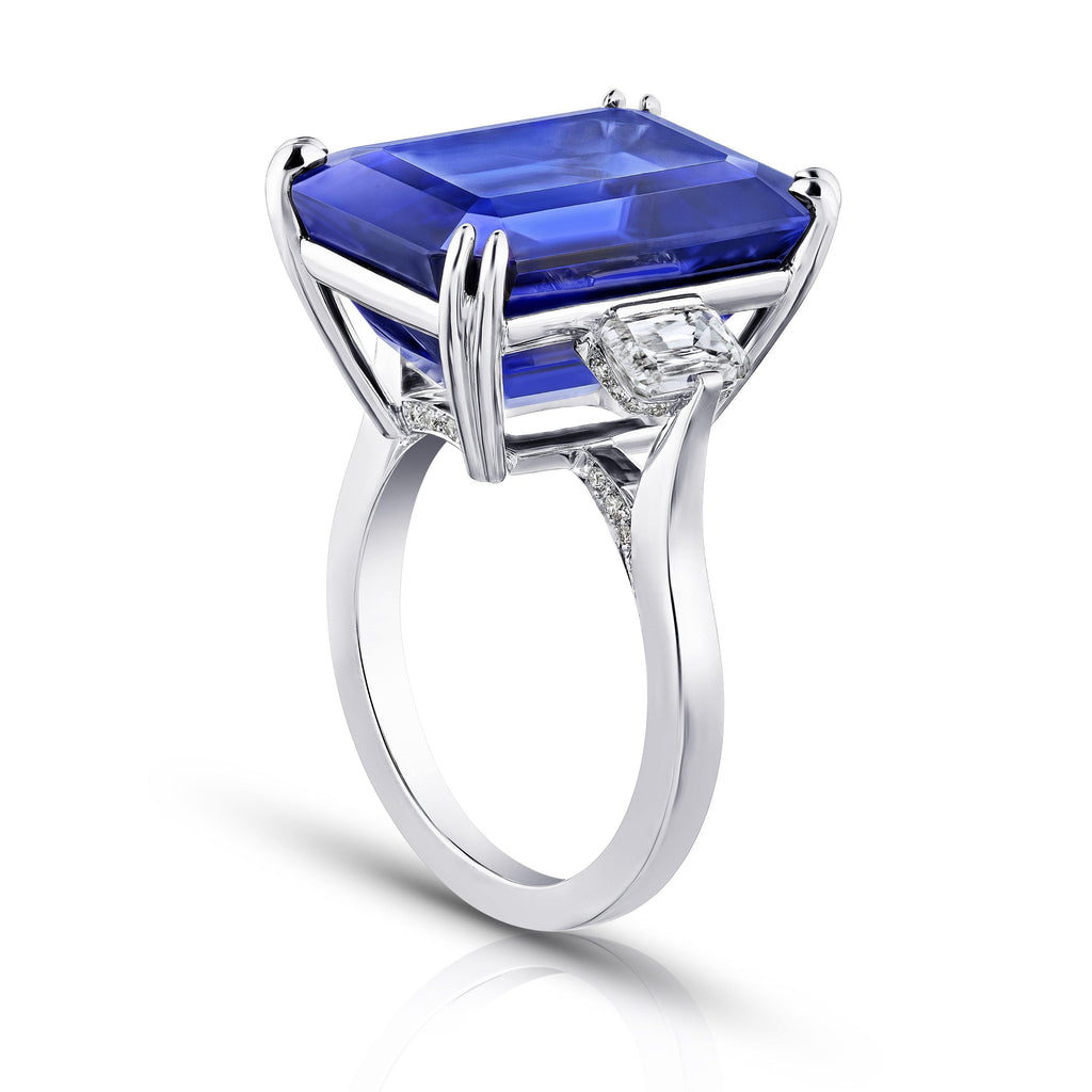 19.97 Carat Emerald Cut Blue Tanzanite and Diamond Ring - David Gross Group