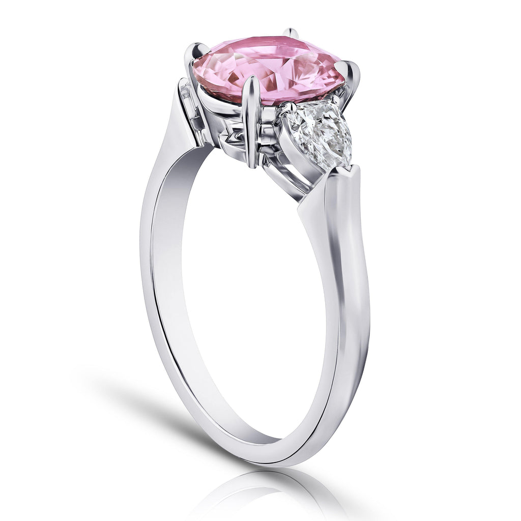 2.37 Carat Oval Padparadscha Sapphire and Diamond Ring - David Gross Group