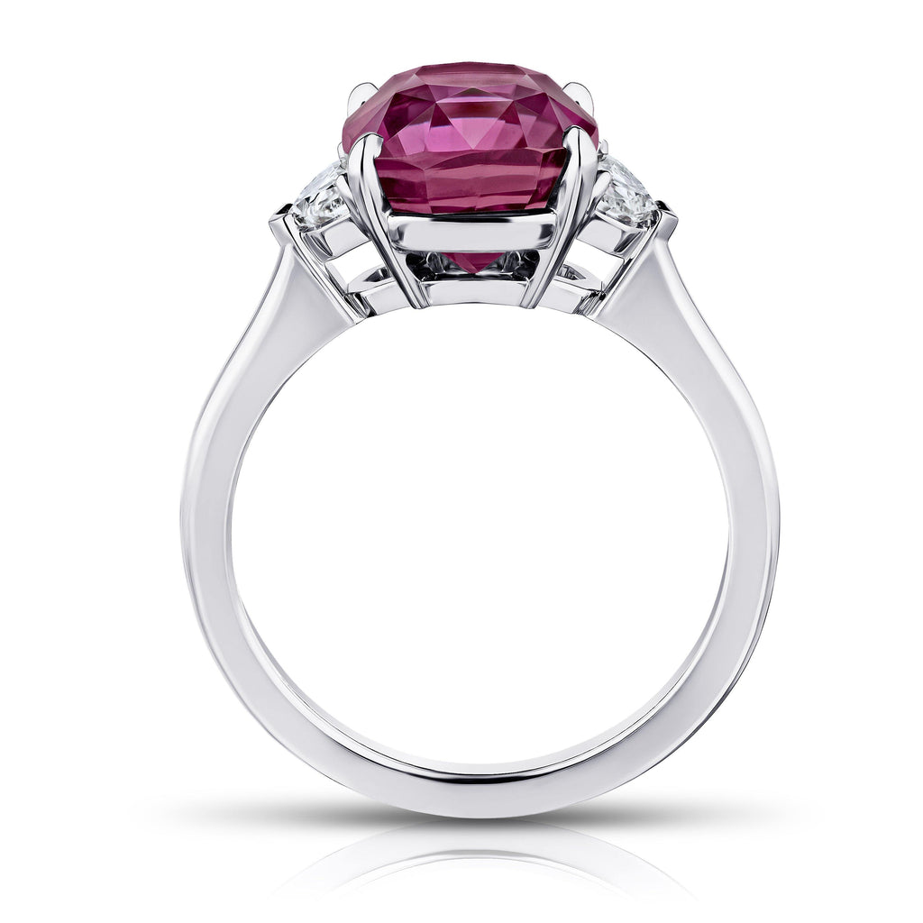 5.88 Carat Cushion Pinkish Red Sapphire and Diamond ring - David Gross Group