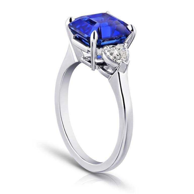 5.65 Carat Square Emerald Blue Sapphire and Diamond ring - David Gross Group