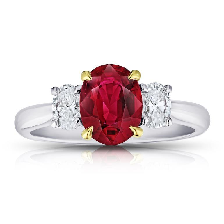1.76 Carat Oval Red Ruby and Diamond Ring - David Gross Group