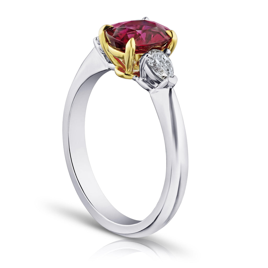 1.72 Carat Oval Red Ruby and Diamond Ring - David Gross Group