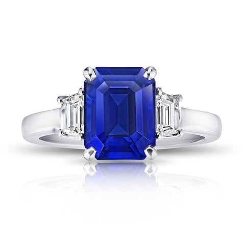 7.11 Carat Emerald Cut Blue Sapphire and Diamond Ring