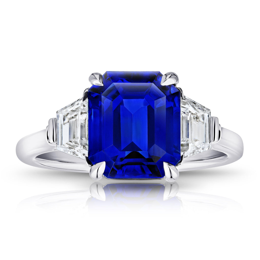 5.08 Carat Emerald Cut Blue Sapphire and Diamond Ring - David Gross Group