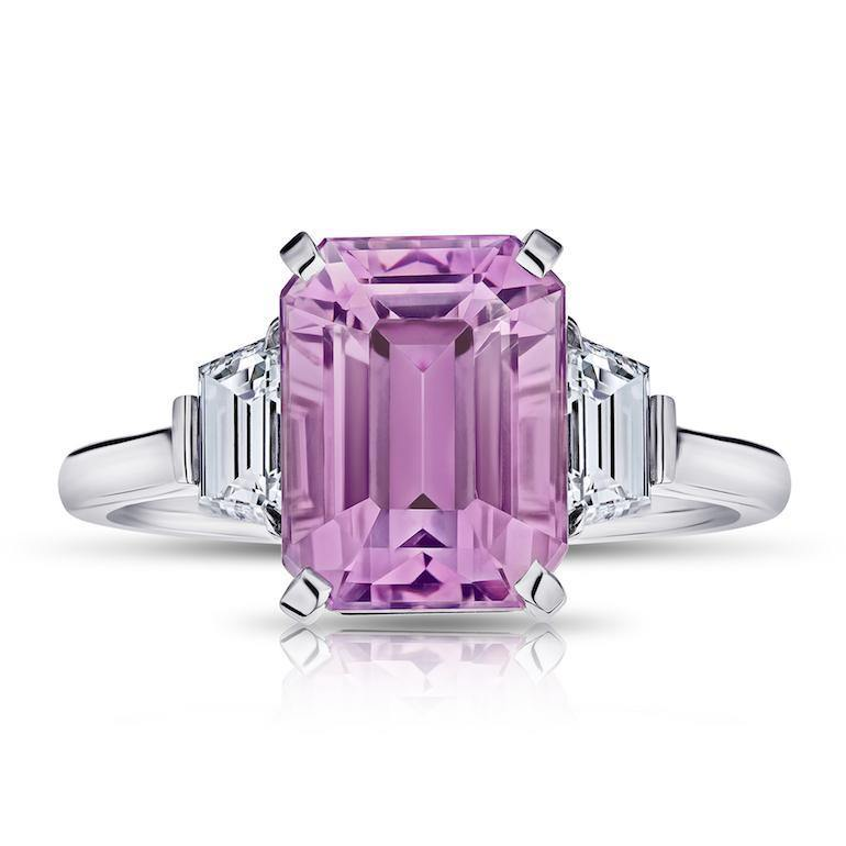 5.70 Carat Emerald Cut Pink Sapphire and Diamond Ring - David Gross Group