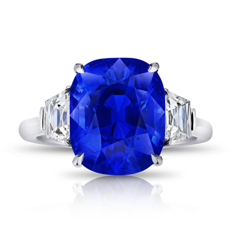 5.65 Carat Square Emerald Blue Sapphire and Diamond ring