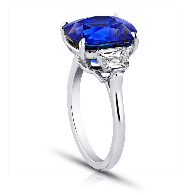 8.59 Carat Cushion Blue Sapphire and Diamond Ring - David Gross Group