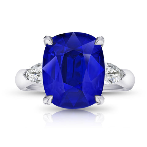 19.97 Carat Emerald Cut Blue Tanzanite and Diamond Ring