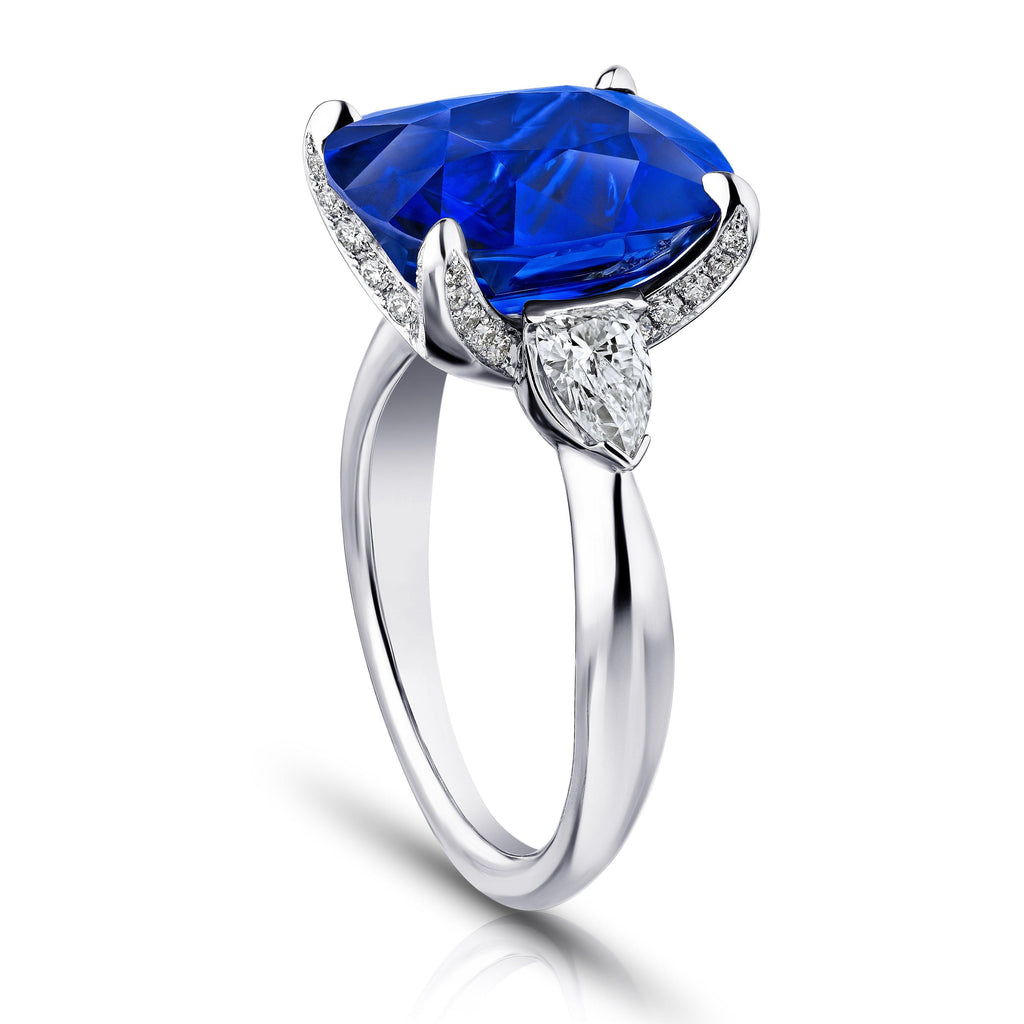 9.81 Carat Cushion Blue Sapphire and Diamond Ring - David Gross Group