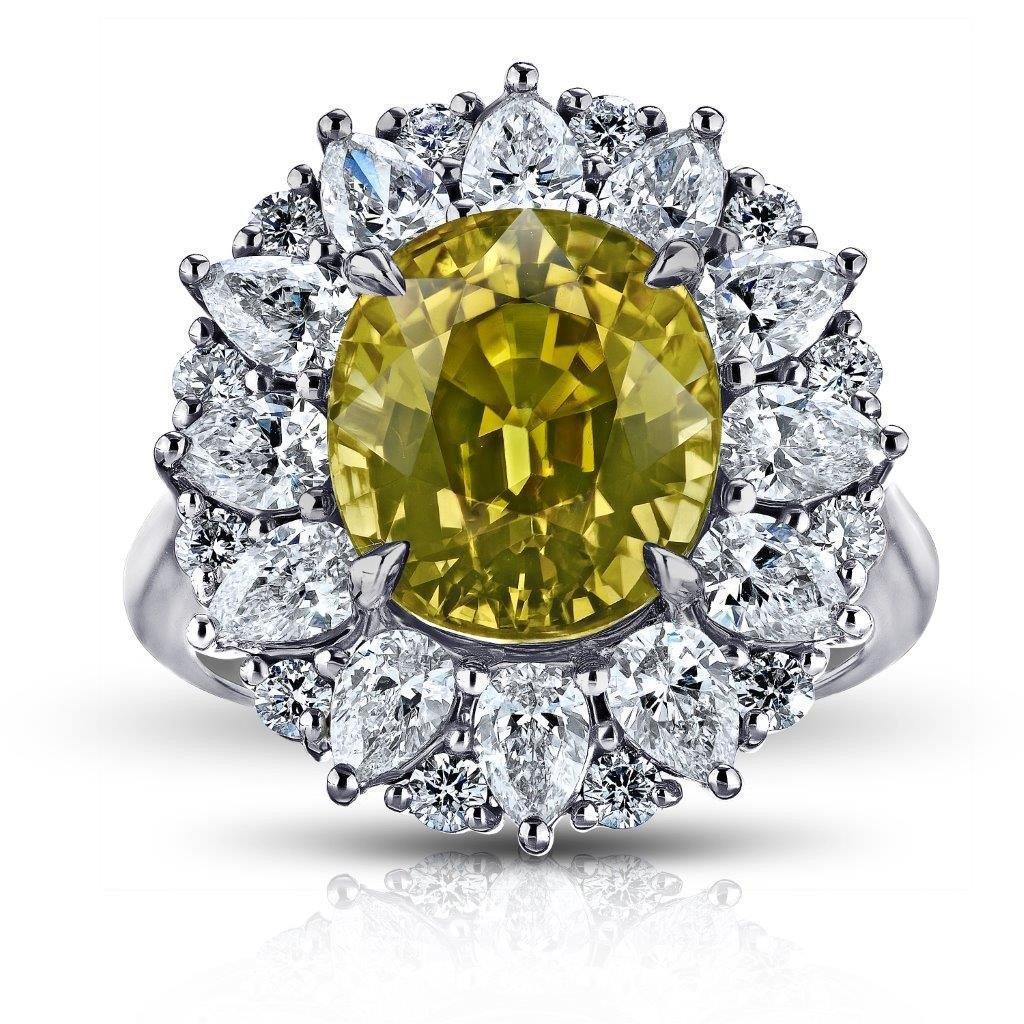8.24 Carat Oval Greenish Yellow Sapphire and Diamond Ring - David Gross Group