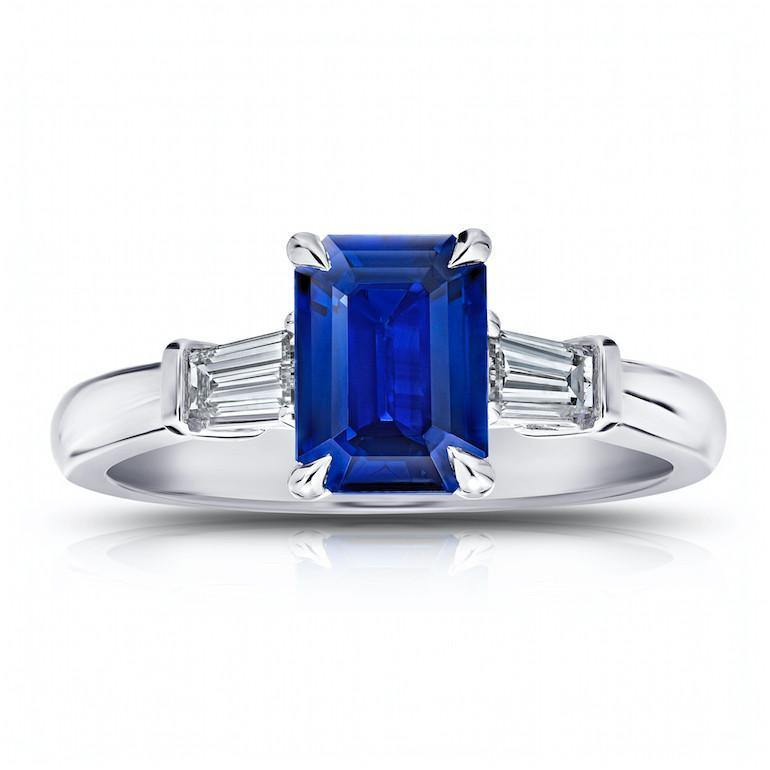 1.76 Carat Emerald Cut Blue Sapphire and Diamond Ring - David Gross Group