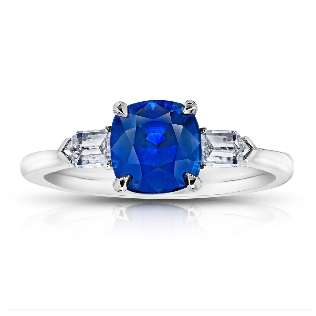 2.57 Carat Cushion Blue Sapphire and Diamond Ring - David Gross Group