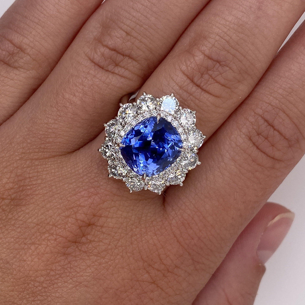 7.40 Carat Cushion Blue Sapphire and Diamond Ring - David Gross Group