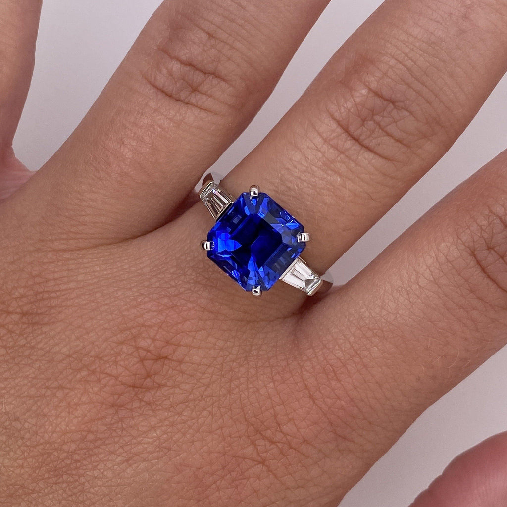 6.16 Square Emerald Blue Sapphire and Diamond Ring - David Gross Group