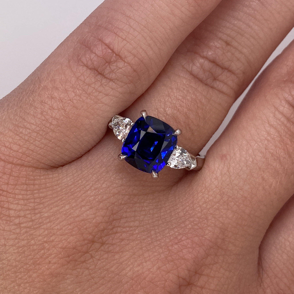 4.04 Carat Cushion Blue Sapphire and Diamond Ring - David Gross Group