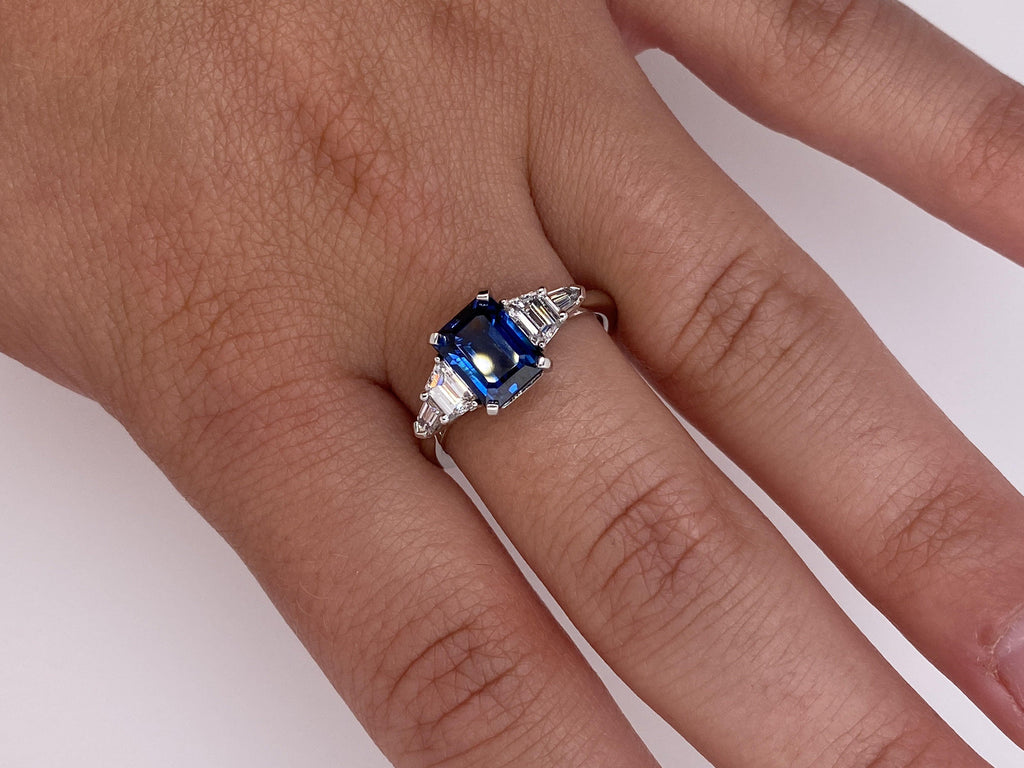 2.25 Carat Emerald Cut Blue Sapphire and Diamond Ring - David Gross Group