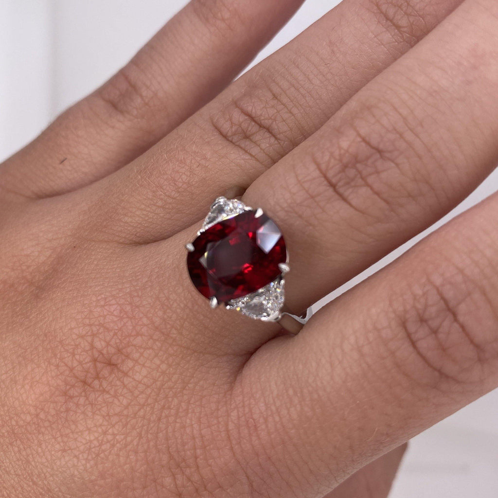 5.10 Carat Oval Red Ruby and diamond Ring - David Gross Group