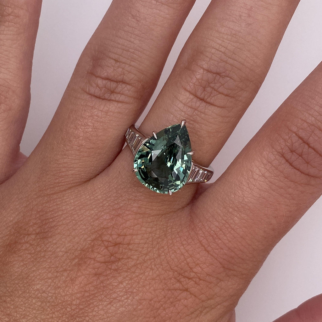 7.57 Carat Pear Shape Green Sapphire and Diamond Ring - David Gross Group