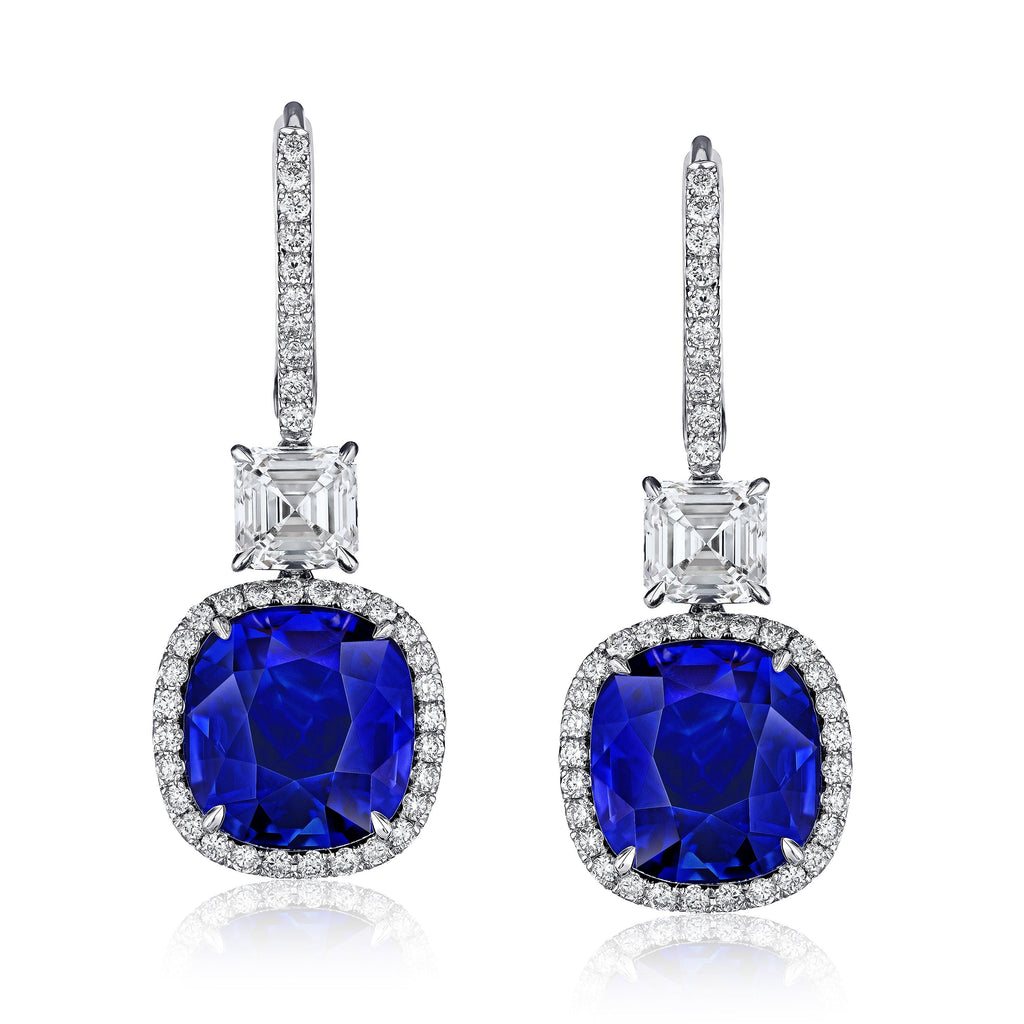 Blue Cushion Sapphire and Diamond Drop Earrings - David Gross Group