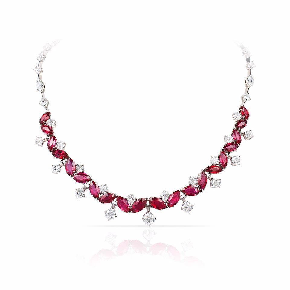 29.30 Carat Marquise Red Ruby and Diamond Necklace - David Gross Group
