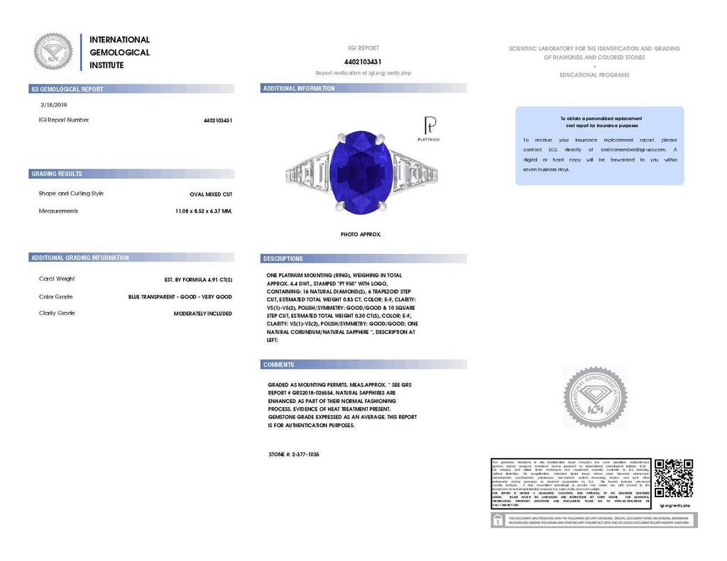 4.91 Carat Oval Blue Sapphire and Diamond ring - David Gross Group