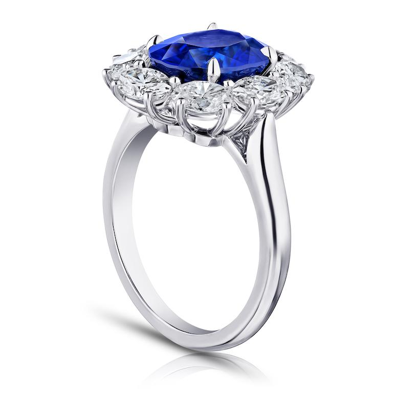 4.37 Carat Oval Blue Sapphire and Diamond Ring