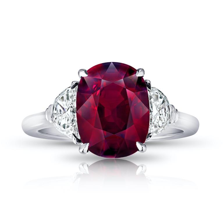 5.10 Carat Oval Red Ruby and diamond Ring