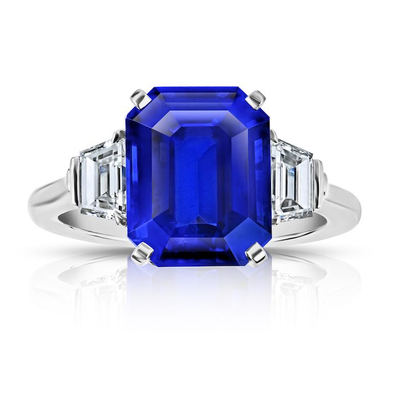 Oval Blue sapphire and pear shape fancy yellow diamond platinum ring