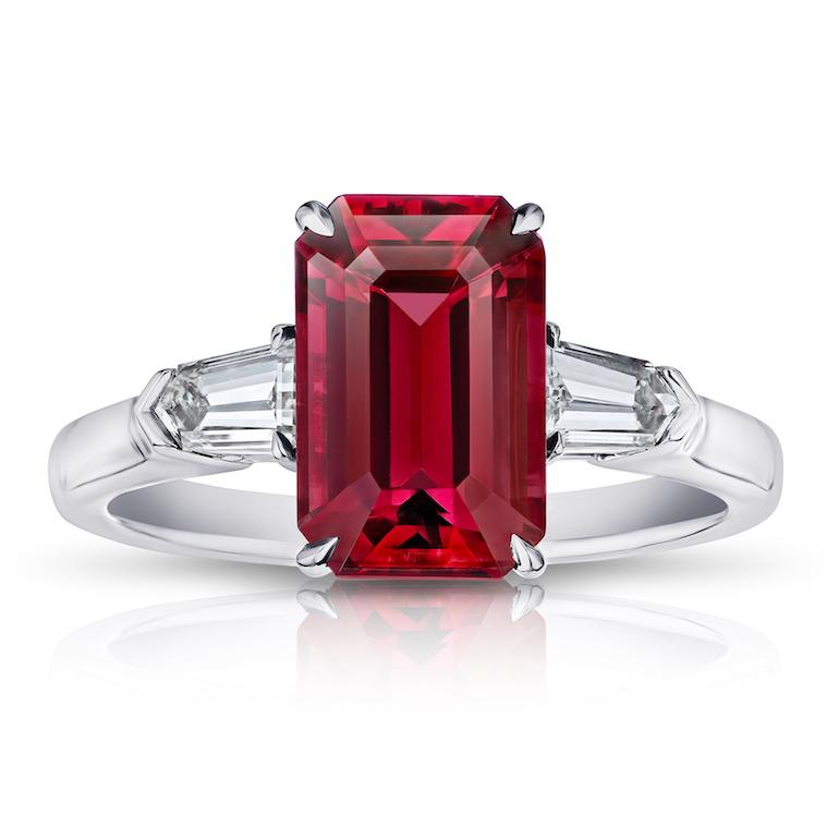 3.28 Carat Emerald Cut Red Spinel and Diamond Ring
