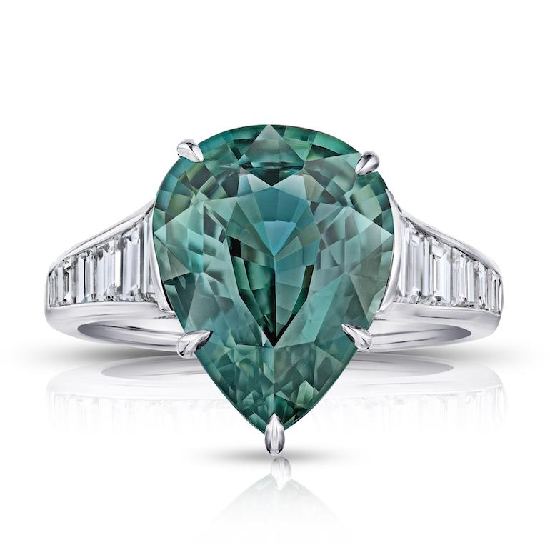 7.57 Carat Pear Shape Green Sapphire and Diamond Ring