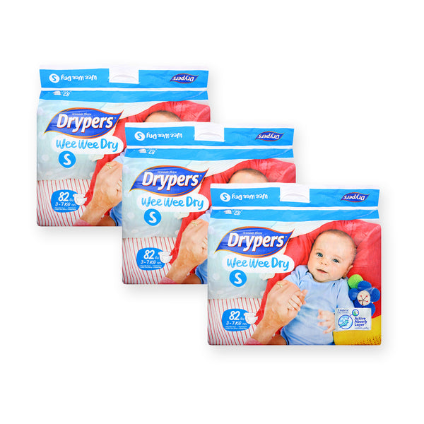 Drypers Diapers Wee Wee Dry Tape S82 x 3 (While Stocks Last) - GuguBird.com