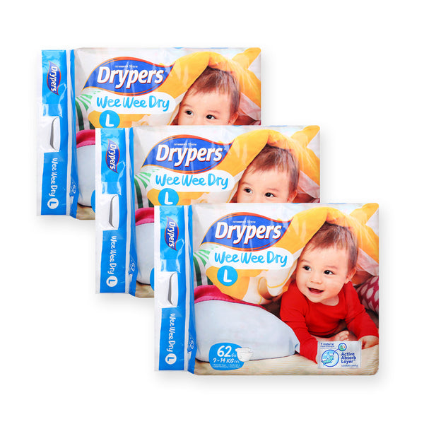 Drypers Diapers Wee Wee Dry Tape L62 x 3 (While Stocks Last) - GuguBird.com