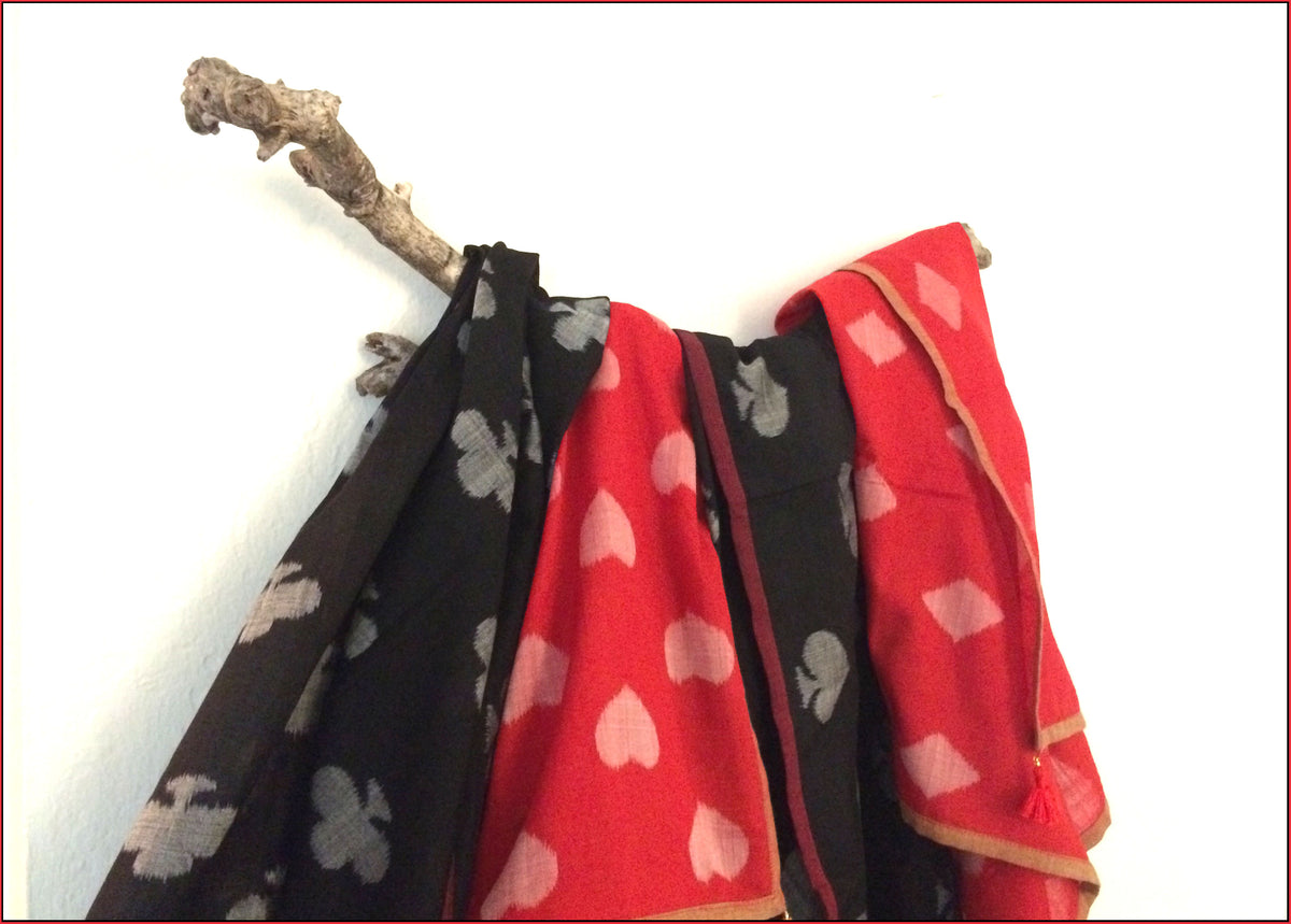 taash, playing cards, ikat scarves, square, handwoven, sambalpuri, 100% cotton, eco-friendly, butterfly garden, flowers, handloom, bhulia, weavers, craft, Odisha, textiles, tassles, natural, spring, summer, clothing, sustainable, tea, two-tone,