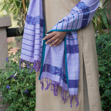 lilac purple blue floral ikat sambalpuri scarf stole dupatta cotton handloom handwoven craft woven india