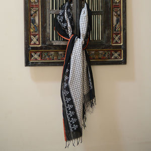 black, fera, checks, traditional, ikat, sambalpuri, cotton, odisha, classic, white, fashion, elegant