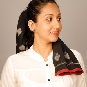 taash, spade, cotton, black, ikat, sambalpur, scarf, bohemian, head scarf, narrow