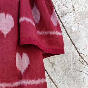 Heart, quirky, head scarf, narrow scarf, embroidery, summer, ikat, sambalpuri, cotton, elegant , odisha