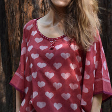 Heart, poncho, quirky, free size, tassels, embroidery, summer, ikat, sambalpuri, cotton, elegant