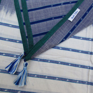 reflection white blue ikat sambalpuri lines cotton scarf tassels water collection summer drape