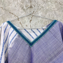 reflection white blue ikat sambalpuri lines cotton poncho tassels water collection summer embroidery